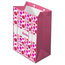 Pink polka dot pattern gift bag