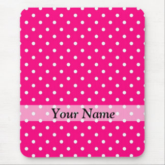 Pink polka dot pattern mouse pad