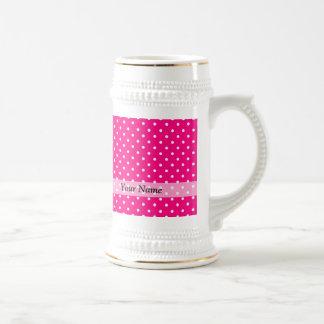 Pink polka dot pattern 18 oz beer stein