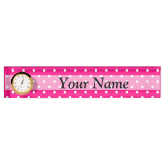 Pink polka dot pattern desk nameplates