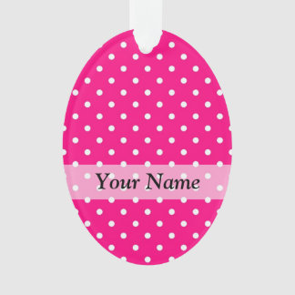 Pink polka dot pattern ornament