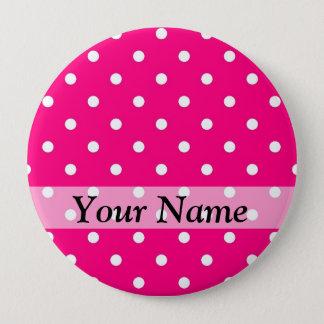 Pink polka dot pattern pinback button