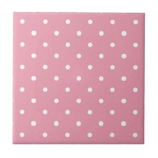 Pink Polka Dot Pattern Ceramic Tiles