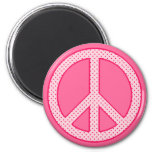 Pink Polka Dot Peace 2 Inch Round Magnet