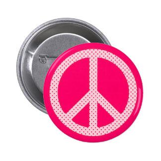 Pink Polka Dot Peace Pinback Buttons