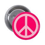 Pink Polka Dot Peace Pinback Buttons