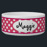 "Pink Polka Dot Personalized Ceramic Dog Bowl<br><div class=""desc"">This custom Pink and White Polka Dots Personalized Ceramic Dog Bowl is a cute choice for a large dog. This cool and unique polkadot dog bowl makes a charming gift for your very best friend.</div>"