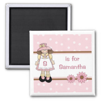 Pink Polka Dot Personalized Child's Name 2 Inch Square Magnet