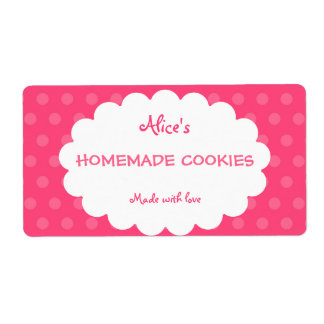 Pink Polka Dot Personalized Homemade Cookies Label