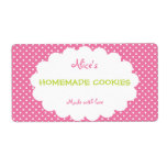 Pink Polka Dot Personalized Homemade Cookies Personalized Shipping Label