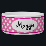 "Pink Polka Dot Personalized Small Dog Bowl<br><div class=""desc"">This custom Pink and White Polka Dots Personalized Ceramic Dog Bowl is a cute gift idea for a small dog. Our cool and unique polkadot dog bowl makes a charming food or water bowl for your very best friend.</div>"