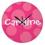 Pink Polka Dot Personalized Wall Clock