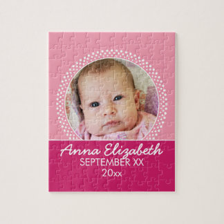 Pink Polka Dot Photo Frame Baby Girl Jigsaw Puzzle