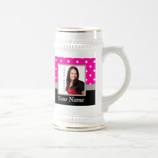 Pink Polka dot photo template Beer Stein