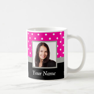 Pink Polka dot photo template Coffee Mug