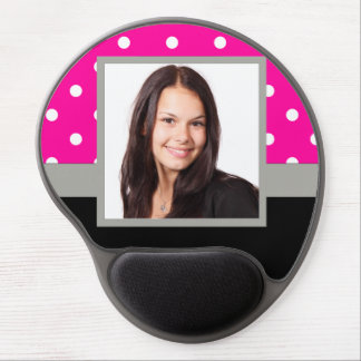 Pink Polka dot photo template Gel Mouse Pad
