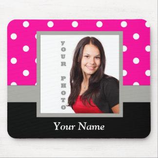 Pink Polka dot photo template Mouse Pad