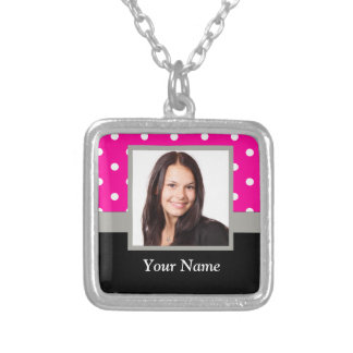 Pink Polka dot photo template Silver Plated Necklace