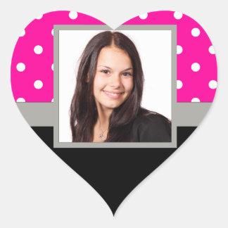 Pink Polka dot photo template Heart Sticker