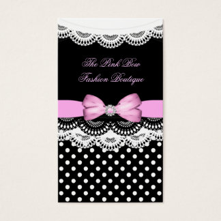 Pink Polka Dot Pink Black Lace White Diamond Bow Business Card