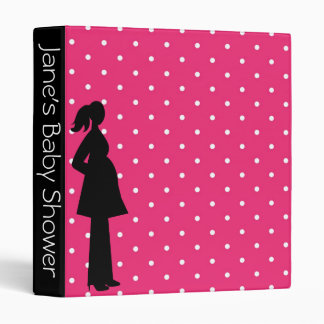 Pink Polka Dot Pregnant Silhouette Baby Shower 3 Ring Binder