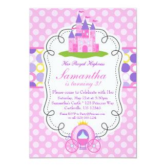 Pink Polka Dot Princess Birthday Party 5x7 Paper Invitation Card