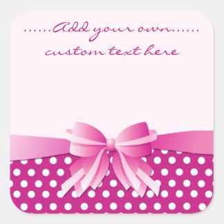 Pink Polka Dot & Ribbon Bow Customizable Stickers