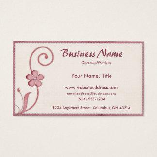 Pink Polka Dot Scrolled Design 2 Business Cards
