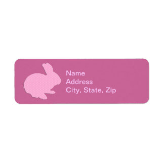 Pink Polka Dot Silhouette Bunny Address Labels