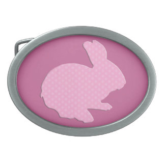 Pink Polka Dot Silhouette Easter Bunny Belt Buckle