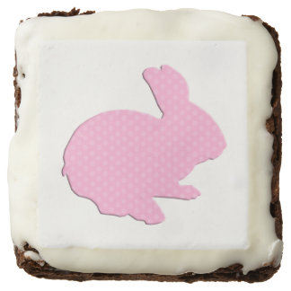 Pink Polka Dot Silhouette Easter Bunny Brownies