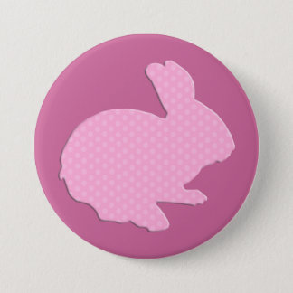 Pink Polka Dot Silhouette Easter Bunny Button
