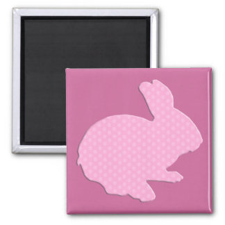 Pink Polka Dot Silhouette Easter Bunny Magnet