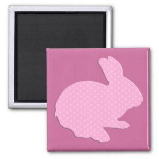 Pink Polka Dot Silhouette Easter Bunny Magnet