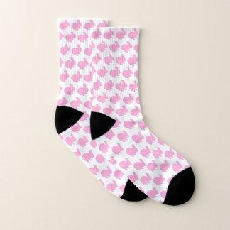 Pink Polka Dot Silhouette Rabbit Socks