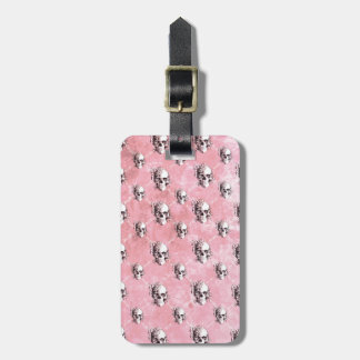 Pink Polka Dot Skull Pattern. Luggage Tag