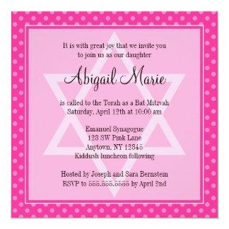 Pink Polka Dot Star of David Bat Mitzvah Square Card
