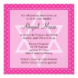 "Pink Polka Dot Star of David Bat Mitzvah Square 5.25"" Square Invitation Card"