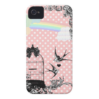 Pink Polka Dot Swallow iPhone 4/4S Case