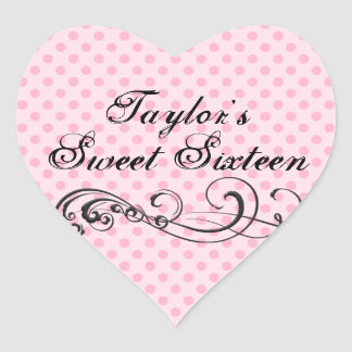 Pink Polka Dot Sweet Sixteen Envelope Sticker