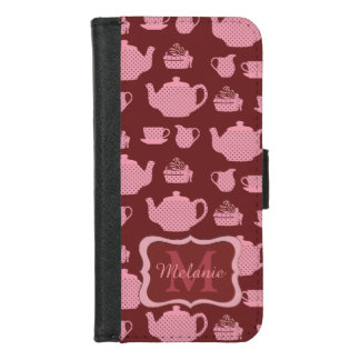 Pink Polka Dot Tea Set on Burgundy iPhone 8/7 Wallet Case