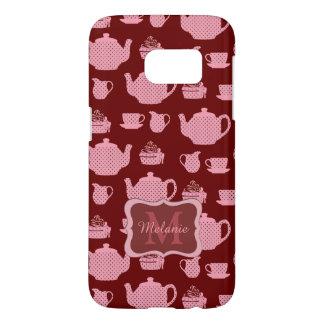 Pink Polka Dot Tea Set on Burgundy Samsung Galaxy S7 Case