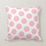 Pink Polka Dot Throw Pillow