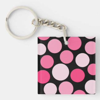 Pink Polka Dot Two Sided Keychain