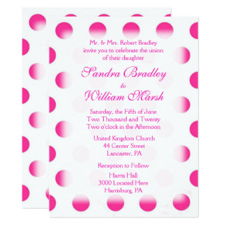 Pink Polka Dot Wedding Card