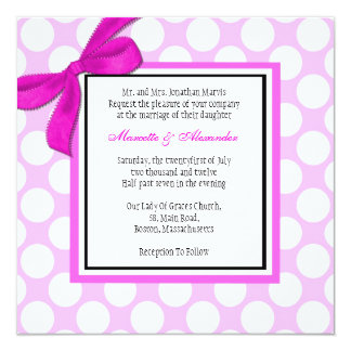 Pink Polka Dot Wedding Invitation