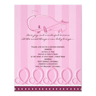 Pink Polka Dot Whale Baby Shower Invitation