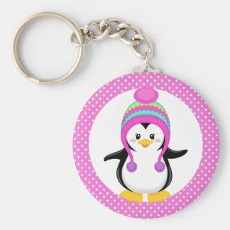 Pink Polka Dot Winter Penguin Girl Basic Round Button Keychain