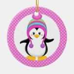 Pink Polka Dot Winter Penguin Girl Double-Sided Ceramic Round Christmas Ornament