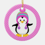 Pink Polka Dot Winter Penguin Girl Double-Sided Ceramic Round Christmas Ornament